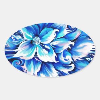 Pintura floral abstracta azul y rosada calcomanías óvales personalizadas