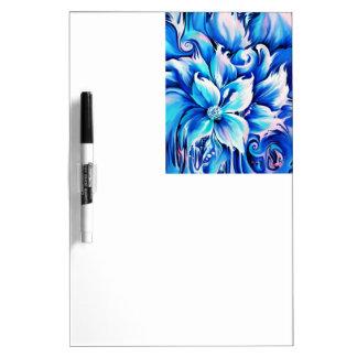 Pintura floral abstracta azul y rosada pizarras