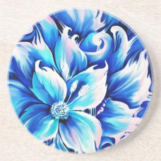 Pintura floral abstracta azul y rosada posavasos manualidades
