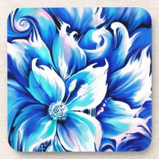 Pintura floral abstracta azul y rosada posavasos
