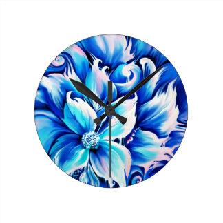 Pintura floral abstracta azul y rosada relojes