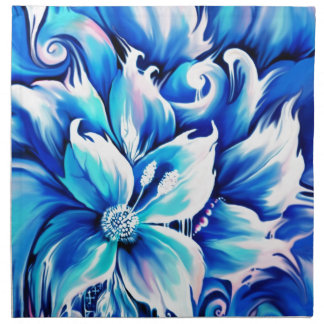 Pintura floral abstracta azul y rosada servilleta de papel