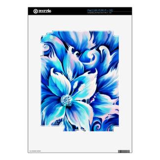 Pintura floral abstracta azul y rosada iPad 2 skins