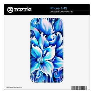 Pintura floral abstracta azul y rosada iPhone 4 calcomanías