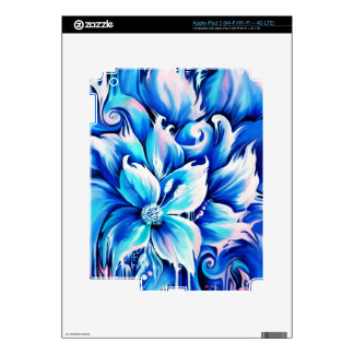 Pintura floral abstracta azul y rosada iPad 3 pegatinas skins