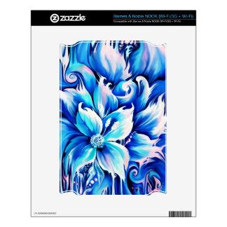 Pintura floral abstracta azul y rosada NOOK skin
