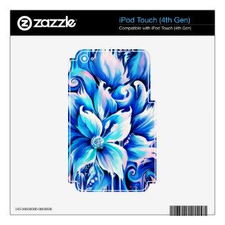 Pintura floral abstracta azul y rosada calcomanías para iPod touch 4G