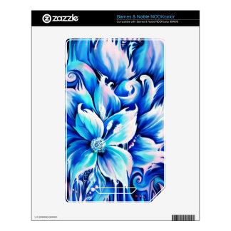 Pintura floral abstracta azul y rosada skin para el NOOK color
