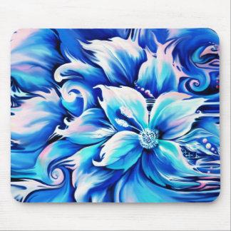 Pintura floral abstracta azul y rosada alfombrilla de ratón