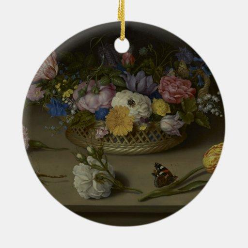 Pintura floral de la bella arte adorno redondo de cerámica