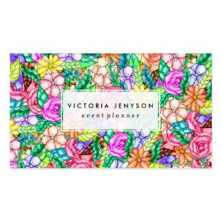 Pintura floral de la mano de la acuarela de la tarjetas de visita