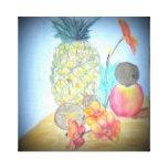 Pintura floral de la piña lienzo envuelto para galerías