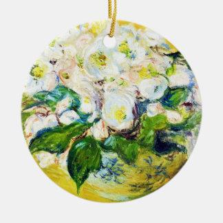 Pintura floral de las flores de Claude Monet de Adorno Redondo De Cerámica
