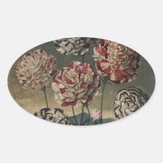 Pintura floral del clavel del vintage pegatina ovalada