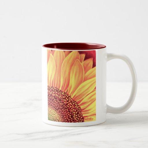Pintura floral del girasol - multi taza