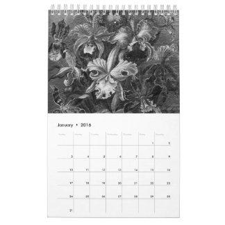 Pintura floral del vintage de Black&White Calendarios