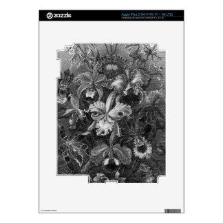 Pintura floral del vintage de Black&White iPad 3 Pegatinas Skins