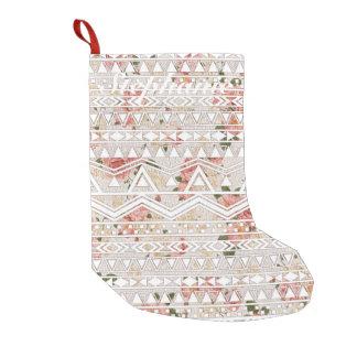 Pintura floral del vintage y modelo azteca blanco bota navideña pequeña