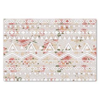Pintura floral del vintage y modelo azteca blanco papel de seda pequeño