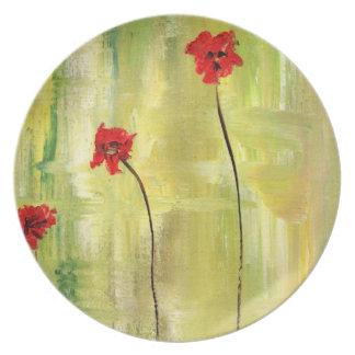 Pintura floral hermosa de anémonas plato para fiesta