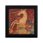 Pintura francesa blanca del arte del unicornio caja de joyas
