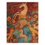 Pintura francesa blanca del arte del unicornio membrete