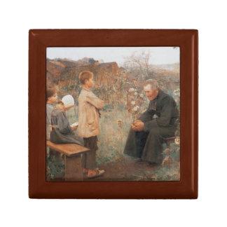 Pintura francesa del vintage cristiano de la bella caja de regalo