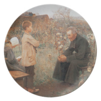 Pintura francesa del vintage cristiano de la bella plato de comida