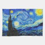 Pintura fresca de Vincent van Gogh de la noche est Toalla De Cocina