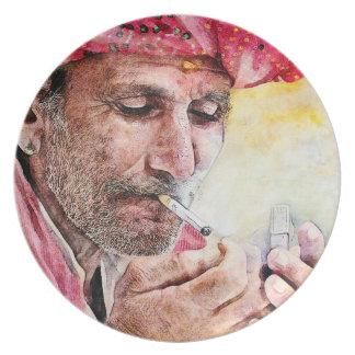 Pintura fresca del retrato de la acuarela de Sr. S Plato De Cena
