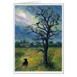 Pintura, gato, pájaro, luna y paisaje de acrílico  felicitaciones