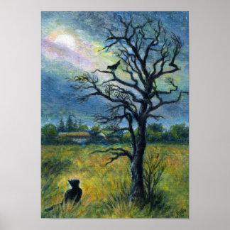 Pintura, gato y pájaro y luna de acrílico póster