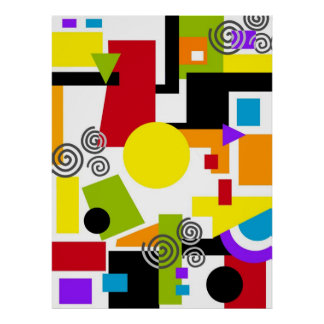 Pintura geométrica abstracta póster