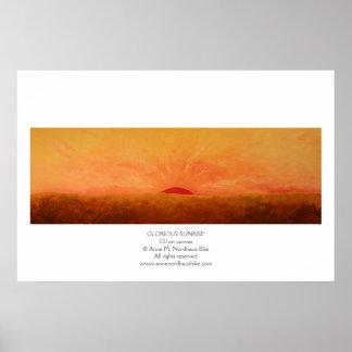 Pintura gloriosa de la salida del sol póster