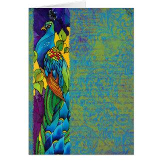 Pintura gloriosa del arte del pavo real felicitacion