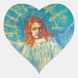 Pintura gloriosa del arte hermoso del ángel de Van Calcomanía Corazón