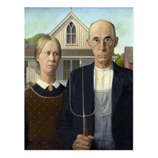 Pintura gótica americana de Grant Wood Tarjetas Postales
