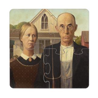 Pintura gótica americana de la bella arte de Grant Posavasos De Puzzle