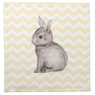 Pintura gris de la acuarela del conejito en galón servilletas de papel