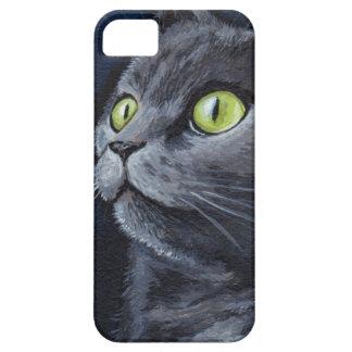 Pintura gris de ojos verdes del gato iPhone 5 Case-Mate carcasa