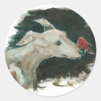¡pintura gris del perro y del pinzón! etiquetas redondas