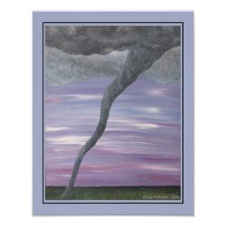 Pintura gris púrpura de la nube del embudo del impresiones fotográficas