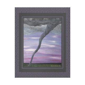 Pintura gris púrpura de la nube del embudo del impresion de lienzo