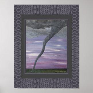 Pintura gris púrpura de la nube del embudo del póster