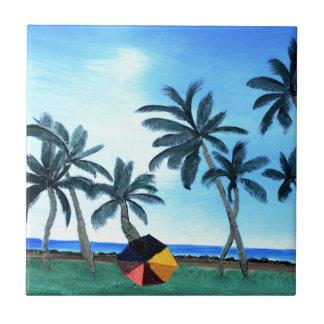 Pintura hawaiana del parque y de las palmeras de l azulejo cuadrado pequeño