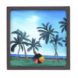Pintura hawaiana del parque y de las palmeras de l cajas de joyas de calidad