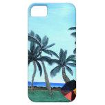 Pintura hawaiana del parque y de las palmeras de l iPhone 5 protectores