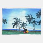 Pintura hawaiana del parque y de las palmeras de l toalla de cocina