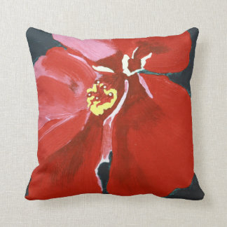 Pintura hawaiana roja de la flor del hibisco cojín