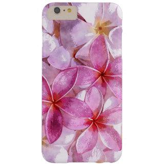 Pintura hawaiana rosada de la acuarela de la flor funda de iPhone 6 plus barely there